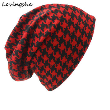 Fashion Brand Autumn Winter Dual-use Hats For Ladies thin Skullies Beanies Vintage Geometric Design Women Scarf Face Mask HT028