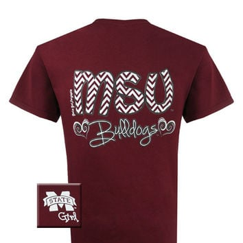 MSU Mississippi State Bulldogs Chevron Heart Girlie Bright T Shirt