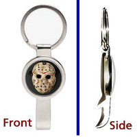 Friday the 13th Jason Voorhees Mask Pendant Keychain silver secret bottle opener