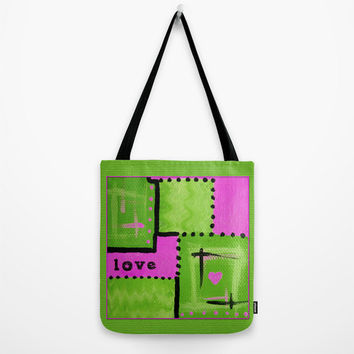 Lime Green Tote Bag with hot pink heart, abstract art tote, love tote, washable tote comes in three sizes, book bag, beach bag, grocery bag
