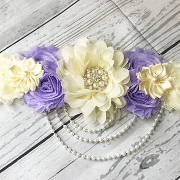 Purple and Cream Rhinestone, Pearls, and Lace Maternity Sash