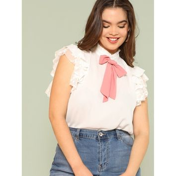 Plus Bow Embellished Layered Ruffle Top