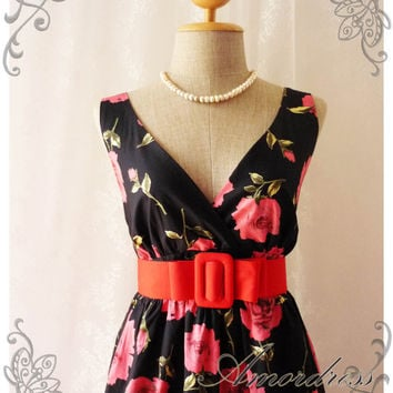 Floral Goddess - Red Rose Tea Dress Summer Rose Black Dress  Floral Dress Vintage Inspired Dress Party Cocktail Wedding Garden Dress  -S-M-