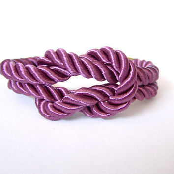 Bridesmaid Gift Rope Bracelet, Radiant Orchid Square Knot Bracelet, Silk Rope Purple Bracelet, Radiant Orchid Wedding, Tie the Knot Bracelet