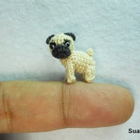 Micro Miniature Tan Pug Dog - Teeny Tiny Dollhouse Miniature Pet - Thread Crochet Animals - Made To Order