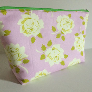 Extra Large Cosmetic Bag Toiletry Bag Travel Bag Makeup Bag in Vintage Rose