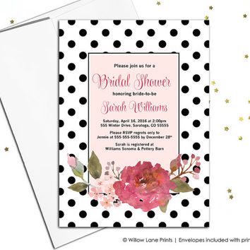 Floral Bridal Shower Invitation Printable Spring Bridal Shower Invite Bohemian Bridal Shower,Boho Invite, digital file or printed - WLP00662