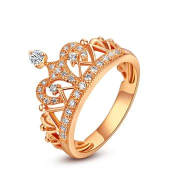 Yellow Gold Color Royal Crown Ring Luxury Design Sterling Silver Wedding Ring for Women Never Fade Jewelry for Princess S925