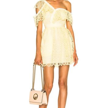Pale Yellow One Shoulder Lace Mini Dress