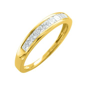 IGI CERTIFIED | 14K Gold Princess Cut Diamond 0.45 carat Wedding Ring Band (White, Yellow, Rose)
