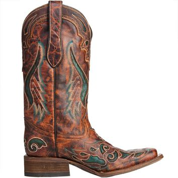 Shop Women's Corral Cognac and Olive Cowgirl Boots