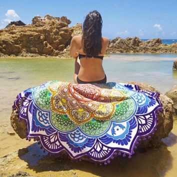ESBU3C Hot Indian Mandala Round Tapestry Wall Hanging Beach Throw Towel Boho Printed Yoga Mat Blanket Table Cloth Home Decoration 150CM