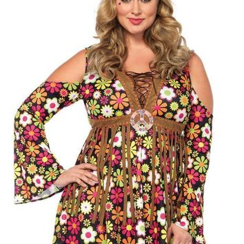 DCCKLP2 2PC.Starflower Hippie,cold shoulder floral fringe dress,flower headband in MULTICOLOR