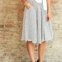 SOHO GRID MIDI SKIRT