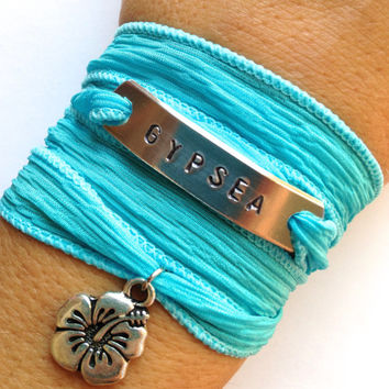 Gypsea Silk Wrap Bracelet - Beach Jewelry - Hand Stamped - Ocean Inspired - Gifts For Her