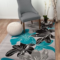 2044 Turquoise Floral Contemporary Area Rugs