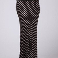 Black Long Maxi Skirt w/ Taupe Stripes