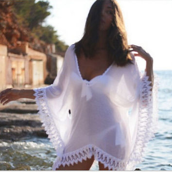 Womens Swimwear Beachwear Bikini Beach Wear Cover Up Kaftan Ladies Summer Chiffon Lace Dress