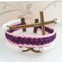 Infinity Bracelet.Cross Bracelet-White Pink Wax Cords and Purple Braid bracelet.Popular Bracelet