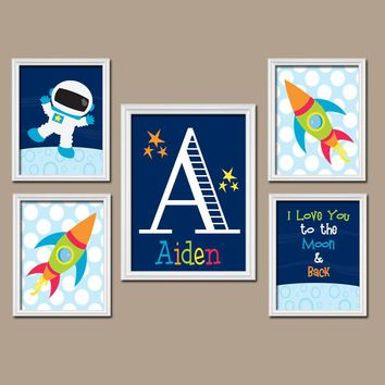 Space Wall Art, CANVAS or Prints Boy Nursery Outer Space Boy Bedroom Astronaut I Love You to the Moon & Back Rocket Set of 5 Boy Room De