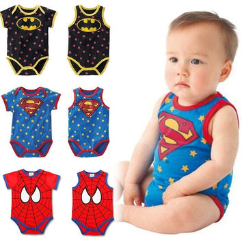 2015 summer short-sleeved vest Superman Romper jumpsuit climbing clothes baby fashion = 1946762180