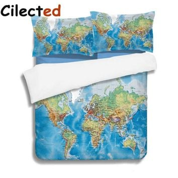 Cilected Design World Map Bedding Set Blue Ocean Duvet Cover With Pillow Covers Soft Bedclothes 3Pcs Queen Size For Double Bed