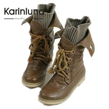KarinLuna Quality Ankle Boots Women BIg size 34-43 Lace up Motorcycle Punk Boots Women Brown Black Yellow Spring Winter Shoes
