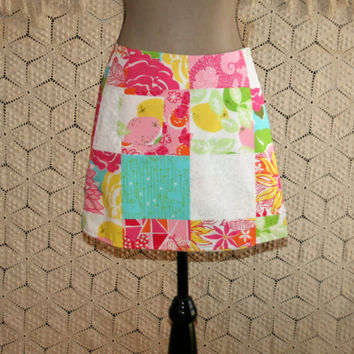 Lilly Pulitzer Reversible Wrap Skirt Cotton Mini Skirt Patchwork Print Lemon Lime Floral Ladybug 90s Vintage Skirts Small Womens Clothing