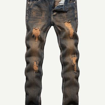 Men Ripped Solid Jeans