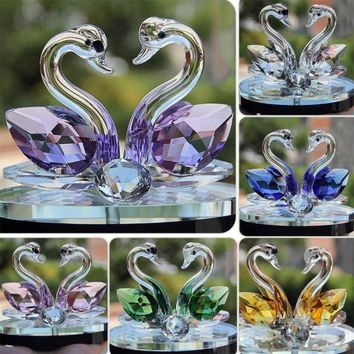 Creative Swan Crystal Glass Figure Paperweight Ornament Decor Collection Living Room Desktop Ornaments Home Decor