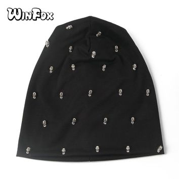 Skull Skulls Halloween Fall Winfox New Spring Summer  Punk Hip Hop Black Navy Grey Plain Color Jersey  Beanies Hats Gorros Caps For Mens Calavera