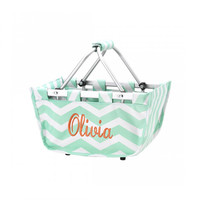 Mini Market Tote, Easter Basket, Toy Basket, Monogram Market Tote, Market Basket,  Mint Green Chevron Basket, Personalized Market Tote, Toy