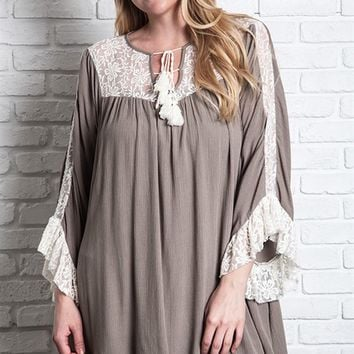 Umgee Plus Latte Lace Trim Ruffle Tunic