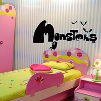 Wall Decals Cartoon Monster Nursery Decal Vinyl Sticker Home Decor Bedroom Interior Window Decals Living Room Art Murals Chu1406