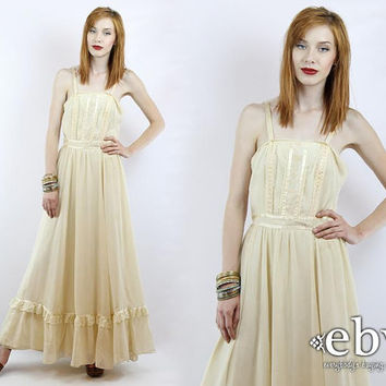 Vintage 70s Cream Ethereal Maxi Festival Dress S M Vintage Hippie Dress Hippy Dress Hippie Wedding Dress Hippy Wedding Dress Boho Dress