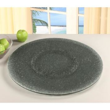 "Chintaly Sandwich Glass Lazy Susan 24"" In Gray Tinted Glass"