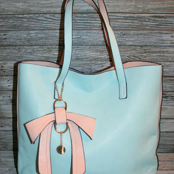 Light Blue Purse Pastel Handbag Pink Bow Large Tote Bag Vegan Robins Egg Blue Spring Summer Vinyl Pleather