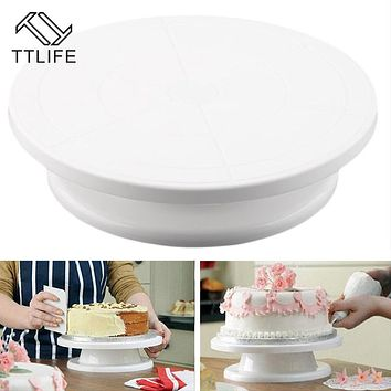 TTLIFE 28cm Kitchen Cake Decorating Icing Rotating Turntable Cake Stand White Plastic Fondant Baking Tool DIY
