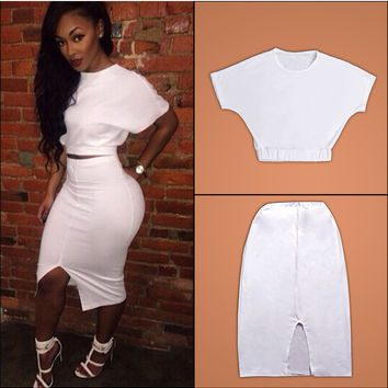 White Short Sleeve Crop Top And Slit Mini Skirt
