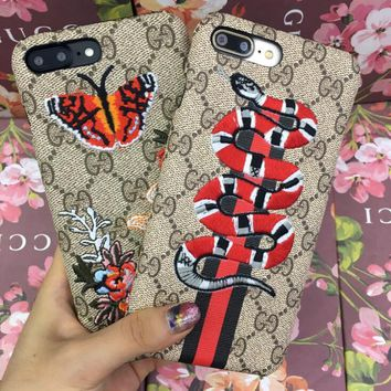 Cute GUCCI Snake Butterfly Embroidery iPhone Phone Cover Case For iphone 6 6s 6plus 6s