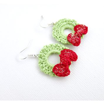 Crochet Wreath Earrings - Green Red Wreath Crochet Earrings - Glitter Wreath - December Jewelry Winter Jewelry Christmas Earrings