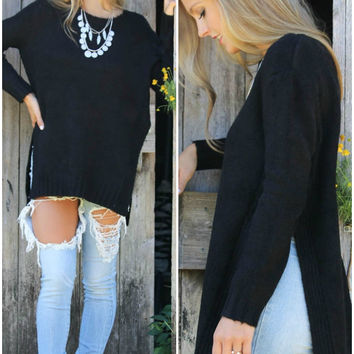 Cross Your Heart Black Long Sleeve Knit Sweater With High Side Slits
