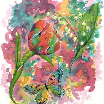 Floral Butterfly Painting - 8x10 Print - Tulip - Butterfly Wall Decor - Shabby Chic - Pink and Green - Original Watercolor - Home Decor