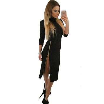 vestidos 2016 new Autumn and winter dress fashion Zipper open fork turtleneck women dresses Long sleeve bodycon long dress