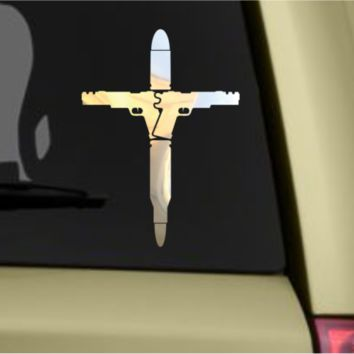 Gun Bullet Cross Vinyl Decal Sticker Motorcycle Car Window Silver Chrome Decal