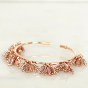 Beaded Open Cuff Bracelet Rose Gold