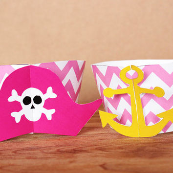 3D Printable Pirate Party Cupcake Wrapper and Topper Set with pirate hat and anchor wrappers in pink chevron INSTANT DOWNLOAD