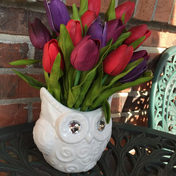 Owl and Red, Plum and Purple True Touch Tulip Floral Arrangement. Bling Owl floral arrangement.