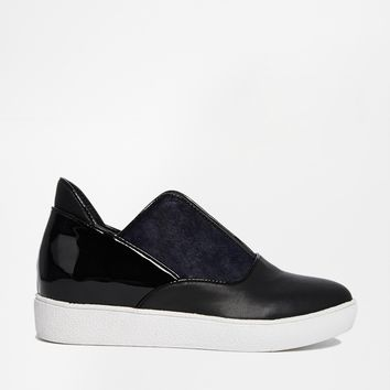 Shellys London Laraun Black/Navy Leather Slip On Flat Shoes