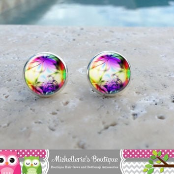 Neon Stud Earrings,Neon Jewelry,Neon Accessories, Rainbow Jewelry, Rainbow Earrings, Leverbacks,Gifts for her, Gifts Under 10